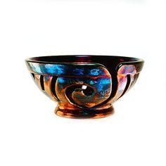 Inanna Ceramic Yarn Bowl Raku Pottery Love Toast by CHpottery, $38.50