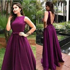 Backless wild berry prom dress ,elegant a line satin pageant gown