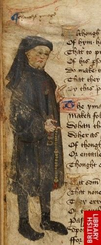 Detail of a marginal miniature of Geoffrey Chaucer pointing the text, with a caption reading 'Chauceris ymago'.