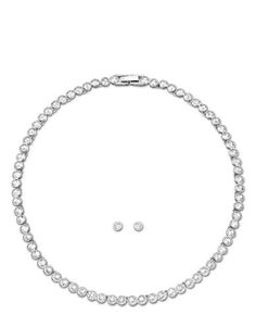 Swarovski Tennis Crystal Necklace and Earring Set Women's Silver
