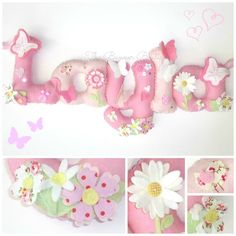 Girly felt name banner / chain / garland with a CK fabric twist. Baby Name Banners, Felt Name Banner, Name Bunting, Felt Letters, Felted Wool Crafts, Felt Crafts, Diy Arts And Crafts, Hobbies And Crafts, Felt Pincushions