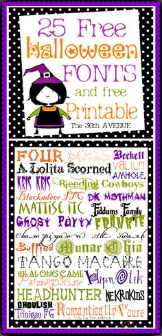 My favorite Free Halloween Fonts at the36thavenue.com