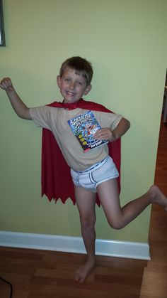DIY Captain Underwear costume for book character parade or Halloween!