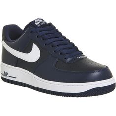 quality design 2fe46 d5405 Nike Air Force One (m) ( 100) ❤ liked on Polyvore featuring shoes, midnight  navy m, trainers, unisex sports, unisex shoes, nike, nike footwear, ...