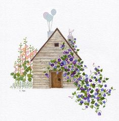 House Illustration, Pictures To Draw, Painting Inspiration, Home Art, Watercolor Paintings, Art Drawings, Poster, Art Prints, Wallpaper