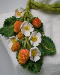 Stawberry Plant, Garden Scarf.  Glass beads, wool, crocheted, knitted, fulled.