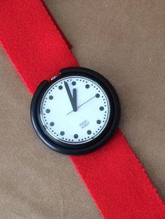 Pop Swatch Watch, Black Pop Dot, Red Swatch Band, 80s Big Watch, Kitsch Collectible Swiss Fashion Watch, Plastic Watch, Working Swatch Watch