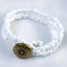 Roped in White Gold Compass Nautical Bracelet | The Accessory Lady