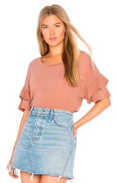Current/Elliott Pink The Ruffle Roadie Tee Shirt Size 4 (S) Destroyed T Shirt, Flutter Sleeve Top, Top Designer Brands, Designer Clothing, Ruffle Top, Ruffle Sleeve, Streetwear Brands, Revolve Clothing, Designing Women