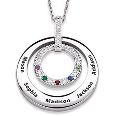 Diamond Family Birthstone Necklace with Names in silver or gold...add up to 5 family member's names.