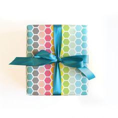 Happy Hex Gift Wrap - Single Sheet by wildinkpress on Etsy https://www.etsy.com/listing/236041664/happy-hex-gift-wrap-single-sheet