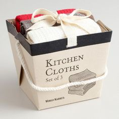 Red, Gray and White Take-Out Box Dishcloths | World Market