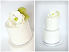 Simple Wedding Cake with a sugar Magnolia http://cecessweetcreations.com/index.html