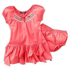 Chaps Solid Ruffled Dress - Baby