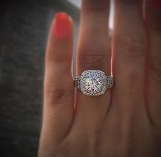 This double halo engagement ring lights up a room! A Gabriel NY piece made in white gold