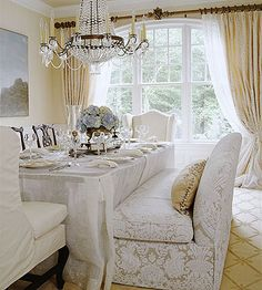 White, beige and gold dining room - Delicately Balanced Beauty