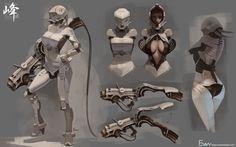 ArtStation - Battle suit_woman, Evan Lee