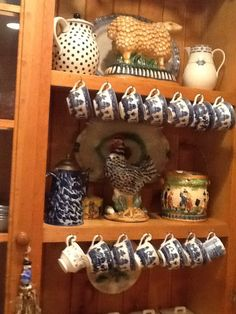 English Country Style... unaffectedly display items collected over a period of time.. mismatched and well loved.
