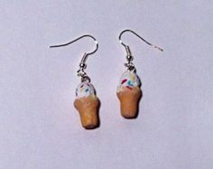 Ice Cream Cone Earrings by TheChicGeekOutlet on Etsy The Chic, Sculpting, Geek Stuff, Ice Cream, Clay, Etsy Shop, Drop Earrings, Trending Outfits, Unique Jewelry