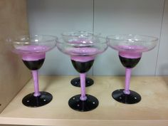 Hand painted Margarita Glasses; set of 4, pink & black with crystals on base. $60 set of 4. harrisartstudio.com