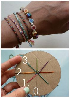 DIY Woven Friendship Bracelet Using a Circular Cardboard Loom. Very easy, cool jewelry craft for kids weaving a seven strand friendship bracelet. Tutorial from Michael Ann Made: http://www.michaelannmade.com/2011/07/woven-friendship-bracelet-tutorial.html