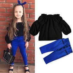 For Sale - Pudcoco Girl Clothes Kids Baby Girl Fall Outfit Children Girls Off Shoulder Shirt T-shirt Tops+Long Pants Cotton Clothes Fashion Kids, Girls Fashion Clothes, Baby Girl Fashion, Fashion Outfits, Off Shoulder Outfits, Off Shoulder T Shirt, Shoulder Tops, Baby Girl Fall Outfits, Kids Outfits