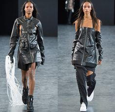 Hood By Air 2015 Spring Summer Womens Runway Catwalk Looks - New York Fashion Week - Denim Jeans Destroyed Destructed Frayed Ripped Holes Threads Knee Panels Combo Panels Shirt Blouse Boots Cutout Side Shoulders Belt Straps Blazer Zippers Spring Coils Slashed Buckles Outerwear Jacket Shirtdress Jacketdress Blazerdress Leather Utility Pockets Bomberdress Strapless Slinky Shorts