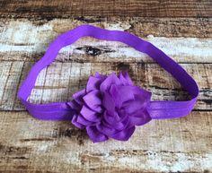 Purple Kanzashi Flower Elastic Headband by PinkSunshinePretties on Etsy