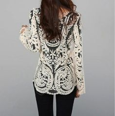 Ivory Embroidery Floral Lace Crochet Shirt #fashion #lace #crochet #shirt