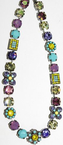 MARIANA NECKLACE HAPPINESS: yellow, turq, purple, lavender stones in b – European Accent