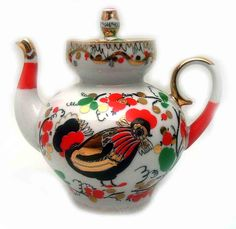"""""""Red Rooster"""" Lomonosov Teapot: An Arabesque teapot creating the illusion of motion. The teapot was made around 1990-1994 at the Lomonosov Porcelain factory in St. Petersburg, Russia / The Russian Shop"""