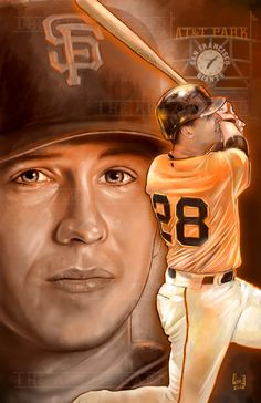 This is an digital drawing of San Francisco Giants catcher, Buster Posey (collage).<br />The print is signed by the artist and shipped with a backing board and clear bag. <br />The print is also printed on high quality card stock. Sf Niners, Giants Baseball, Buster Posey, Tampa Bay Rays, Derek Jeter, Oakland Athletics, Seattle Mariners, Kansas City Royals, St Louis Cardinals