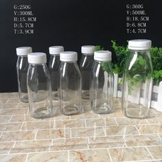 China High Quality Air Tight Square Glass Milk Bottle for Juice with Plastic Cap Photos & Pictures Glass Milk Bottles, Juice Bottles, Glass Bottles, Juice Packaging, Bottle Packaging, Boba Smoothie, Smoothies, Food Packaging Design, Packaging Ideas