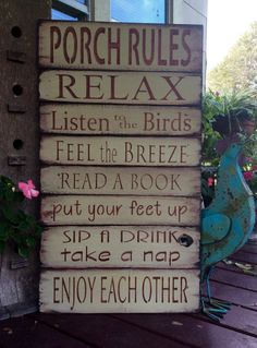 Wood Pallets Ideas Porch Rules sign by MakeItMary on Etsy - large porch rules sign. Made from reclaimed pallet wood. Done in a light olive green. Rust lettering Distressed and ready to hang. 18 x 33 Can also be done in beige with black lettering Used Pallets, Recycled Pallets, Wooden Pallets, Pallet Wood, Pallet Porch, Diy Wood, Outdoor Pallet, Wood Crafts, Pallet Clock