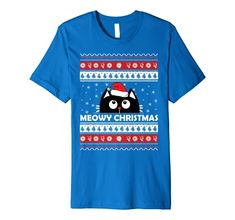 Meowy Cat Ugly Christmas Sweater Premium T-Shirt Meowy Cat Ugly Christmas Sweater