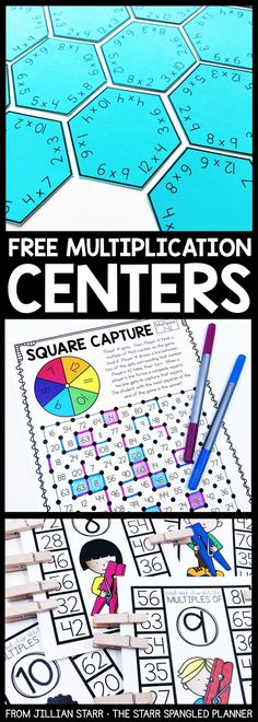 FREE Multiplication Centers to help your students memorize their multiplication facts and build fact fluency. A mix of printable games, logic puzzles, and hands on activities that are perfect for and grade math centers and stations! by keila derringer Fun Math, Math Activities, Multiplication Activities, Maths Puzzles, Free Maths Games, Memorizing Multiplication Facts, 4th Grade Multiplication, Educational Math Games, Printable Math Games