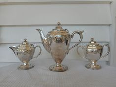 Silver plate EPNS 3 pce Coffee Set -Royal Windsor by Kenson, England C1930.Deco