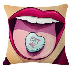 """Bright and bold, these Roy Lichtenstein pop animation throw pillows will transport you right into a comic book scene. - """"Eat Me"""" heart candy on girl's tongue pop art scene. Multiple unique, novelty designs. - Hidden zipper closure. - Removable. Washable. - Size: 18""""x18"""" - FREE SHIPPING Home Decor for: Sofa, Bed, Chair Living Room, Dining Room, Bedroom, Kitchen, Office, Restaurant, Bar, Media Room, Music Studio, Lounge, Vacation House, Hotel, Apartment, Loft, Home Style: Modern, Creative…"""