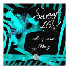Sweet Sixteen 16 Masquerade Teal Zebra Personalized Invitations