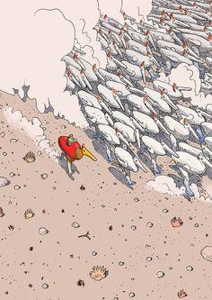 Moebius Jean Henri Gaston Giraud was a French artist, cartoonist, and writer) Jean Giraud, Illustrations, Illustration Art, Art Science Fiction, Moebius Art, Moebius Comics, Ligne Claire, Bd Comics, Art Graphique