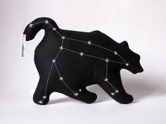 Ursa Major Glow in the Dark Constellation Pillow in Black