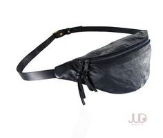 Black leather fanny pack  hip bag FREE SHIPPING waist by JUDtlv