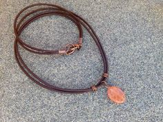 Mens stone necklace crackled fire agate leather cord by Men Necklace, Stone Necklace, Agate Stone, Men's Jewelry, Leather Cord, Natural Stones, Fire, Brass, Unisex