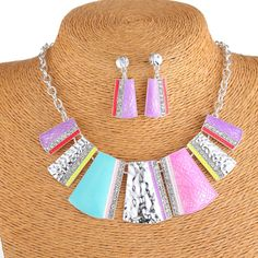 Fashion Alloy Oil Drip Women Colorful Square Shape Choker Necklace and Earrings Jewelry Sets