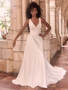 Time to end the notion that simple gowns are doomed to disappoint. This minimalist crepe A-line wedding dress is meant to be admired from every angle. Crepe Wedding Dress, Maggie Sottero Wedding Dresses, Wedding Gowns, Halle, Vera Wang, Bridal Dresses, Bridesmaid Dresses, Bridal Gown, Prom Dresses
