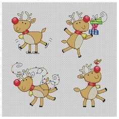 Cute Christmas Reindeer Cross Stitch Pattern - Instant Download PDF