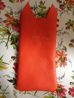 Leather Kitten Glasses Case or Phone Sleeve by KrakensandCats