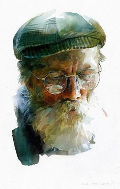 Stan Miller, watercolor and egg tempera {contemporary art male head eyeglasses beard female face portrait painting #loveart #2good2btrue} stanmiller.net