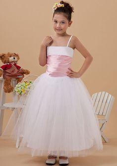 2015 Tulle Spaghetti Straps Zipper Ribbon Sleeveless White Tea Length Ball Gown Flower Girl Dresses FGD