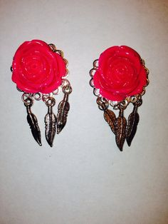 Pink Rose Feather Plugs, Your Choice, Earrings or Plugs on Etsy, $20.00